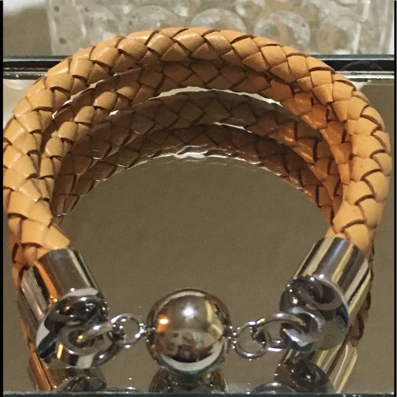 Qvc Jewelry Steel By Design Camel Leather Bracelet Poshmark